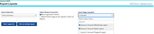 Click to Initiate Export Page Layout