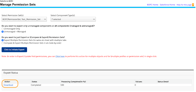 download your Permission Sets export in xls