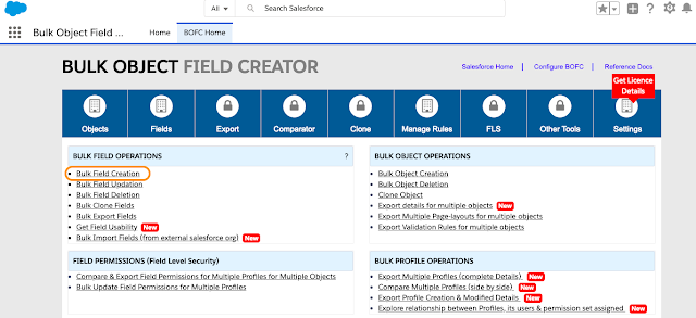 BOFC Field Creation page
