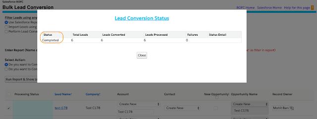 Convert Bulk Leads using Standard Conversion