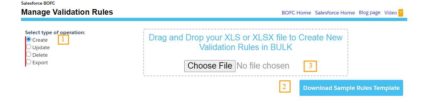 Type of Operation as Create validation rules
